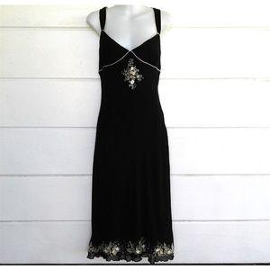 Betsey Johnson Black Silk Dress Embroidered 10